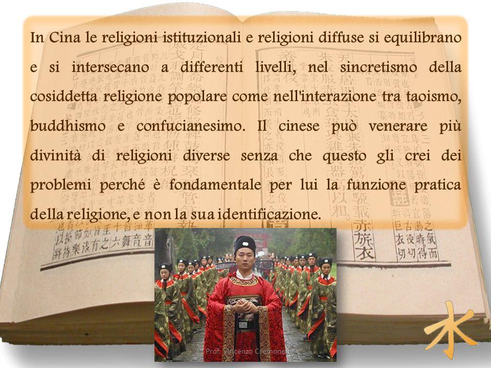 In Cina le religioni istituzionali e religioni diffuse si equilibrano e si intersecano a differenti livelli, nel sincretismo della cosiddetta religione popolare come nell interazione tra taoismo, buddhismo e confucianesimo.