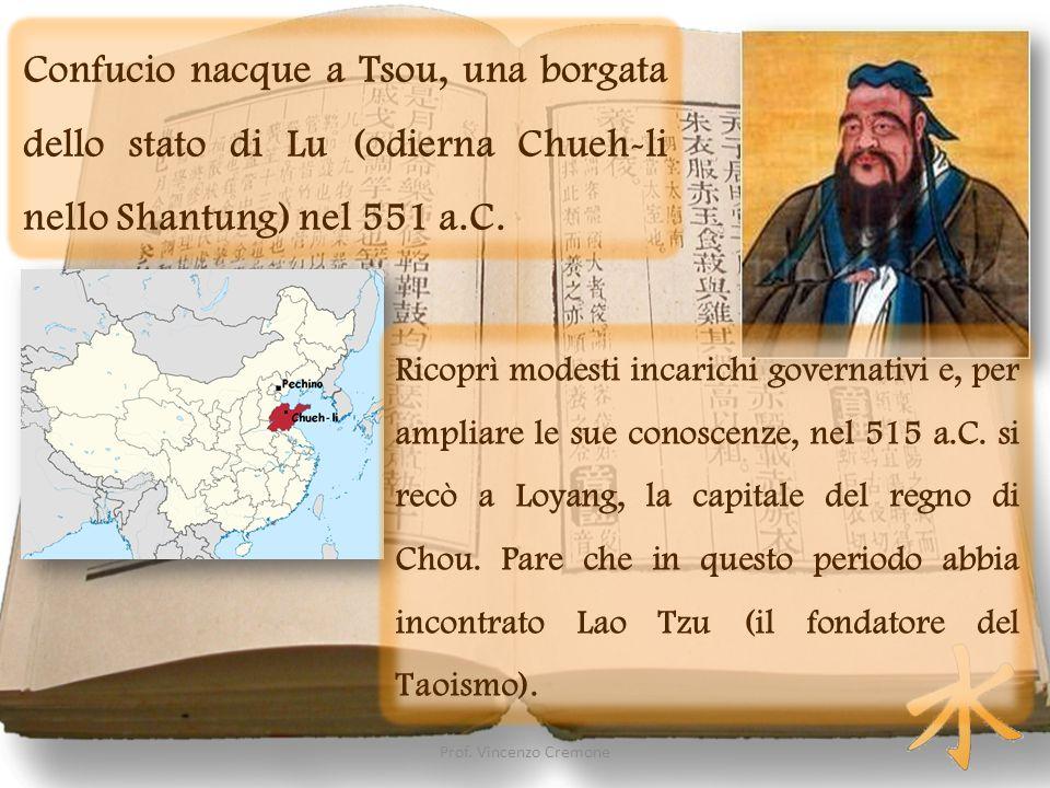 Confucio nacque a Tsou, una borgata dello stato di Lu (odierna Chueh-li nello Shantung) nel 551 a.C. Ricoprì modesti incarichi governativi e, per ampl