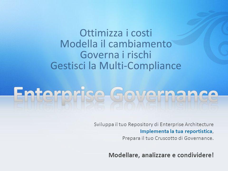 L'obiettivo è costruire una base di conoscenza della struttura aziendale – organizzazioni, processi, sistemi, flussi, dati, infrastrutture it – che sia: Condivisa Affidabile Completa Corretta Aggiornata Fruibile Obiettivi dell' Enterprise Governance