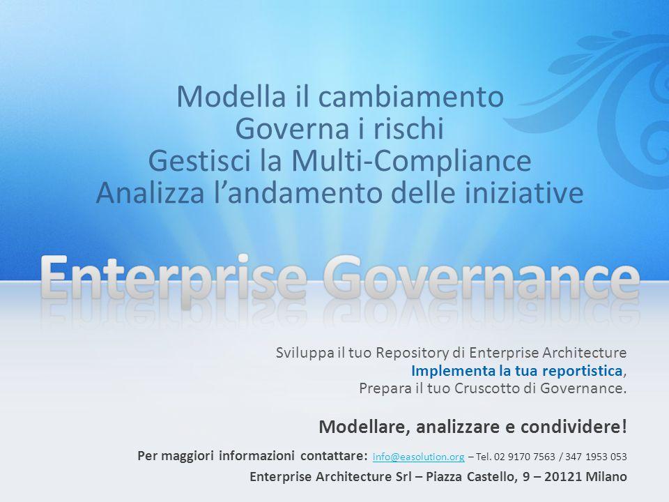 Sviluppa il tuo Repository di Enterprise Architecture Implementa la tua reportistica, Prepara il tuo Cruscotto di Governance.