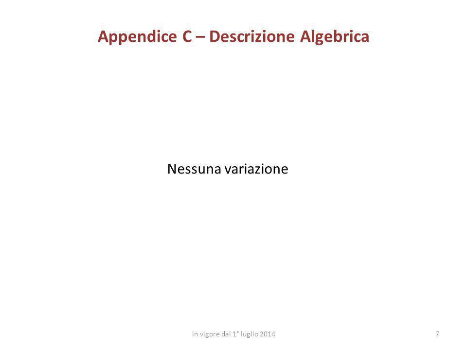 7 Appendice C – Descrizione Algebrica in vigore dal 1° luglio 2014 Nessuna variazione
