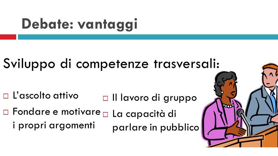 Debate: vantaggi Sviluppo di competenze trasversali:  L'ascolto attivo  Fondare e motivare i propri argomenti  Il lavoro di gruppo  La capacità di