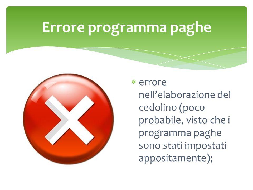 Errore programma paghe  errore nell'elaborazione del cedolino (poco probabile, visto che i programma paghe sono stati impostati appositamente);
