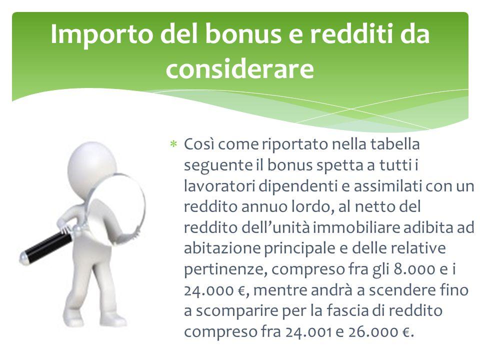 Importo del bonus e redditi da considerare  Così come riportato nella tabella seguente il bonus spetta a tutti i lavoratori dipendenti e assimilati c