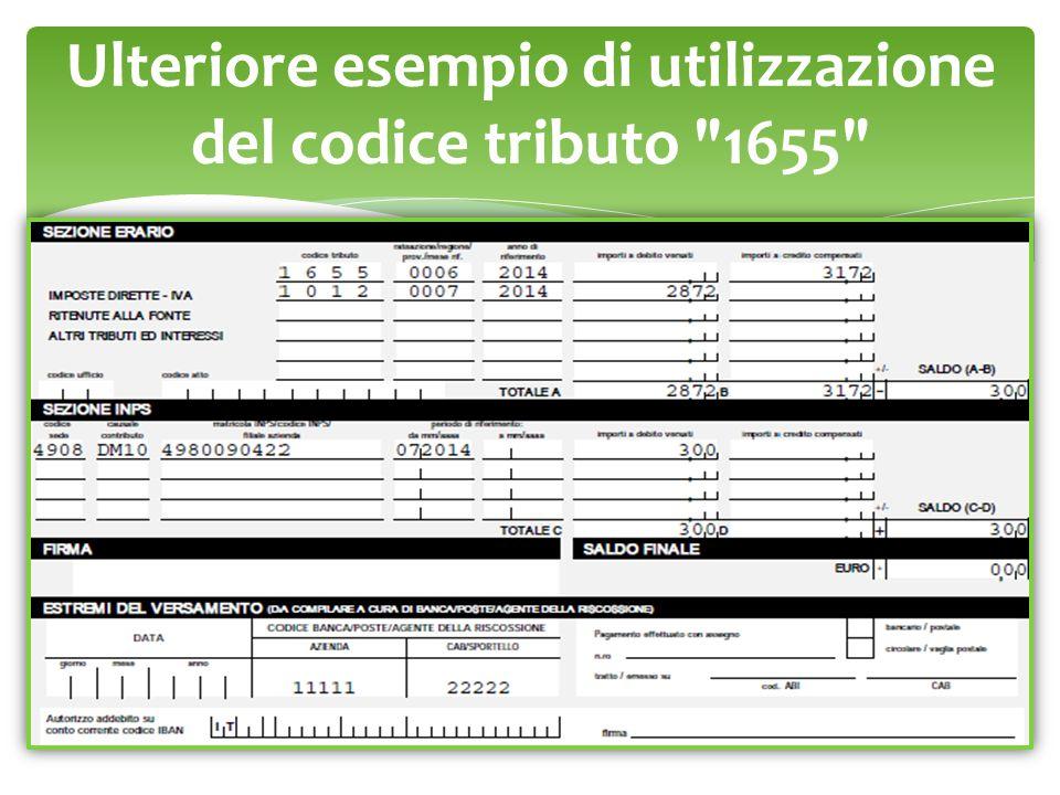Ulteriore esempio di utilizzazione del codice tributo 1655