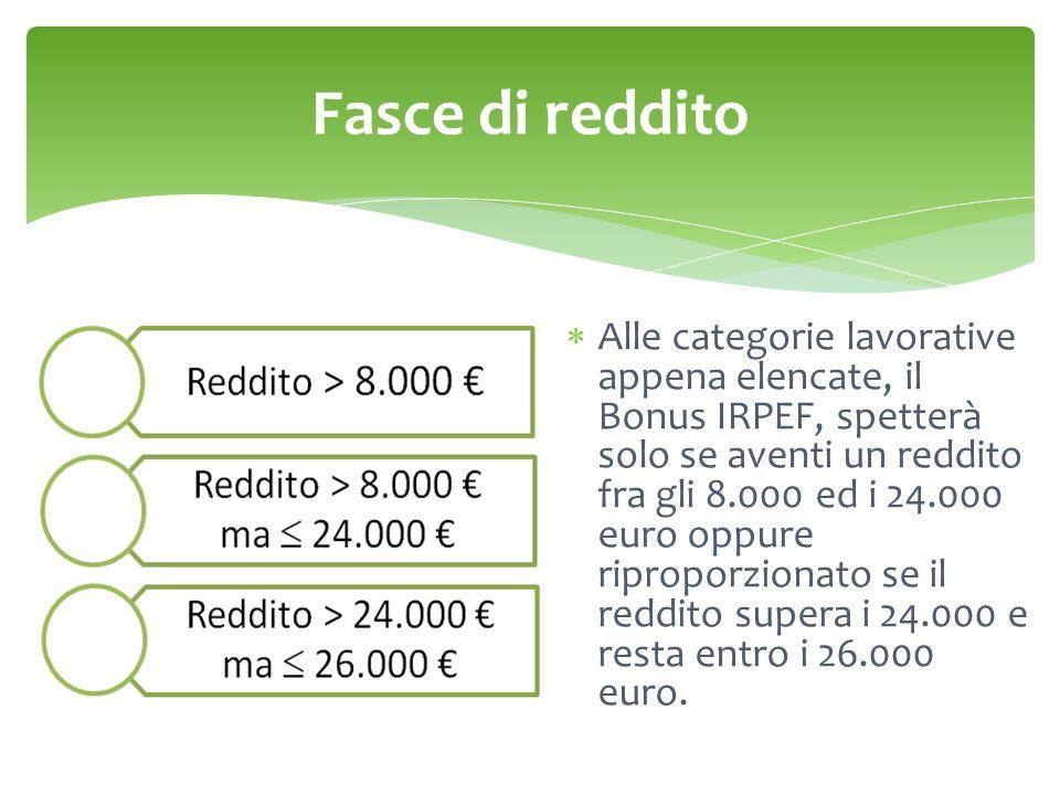 Fasce di reddito  Alle categorie lavorative appena elencate, il Bonus IRPEF, spetterà solo se aventi un reddito fra gli 8.000 ed i 24.000 euro oppure