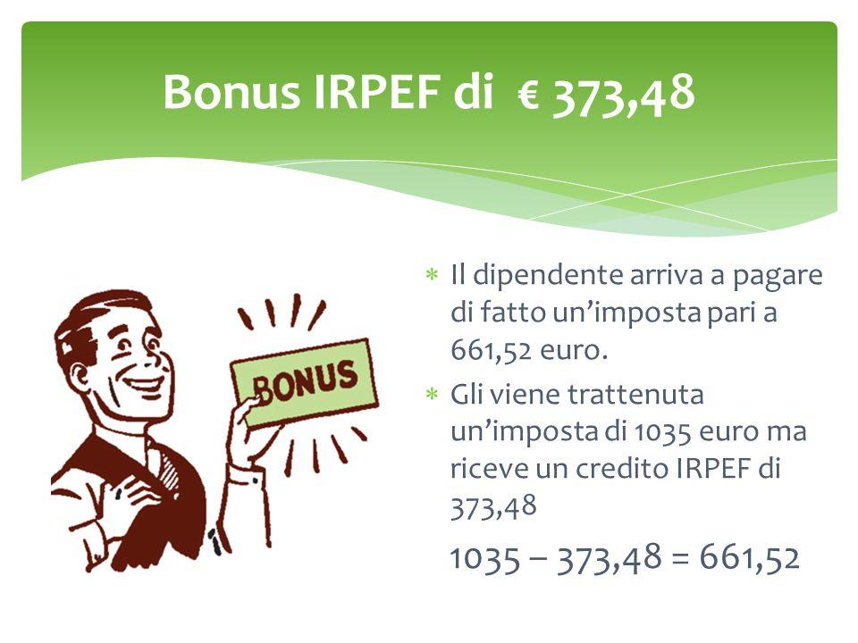Bonus IRPEF di € 373,48  Il dipendente arriva a pagare di fatto un'imposta pari a 661,52 euro.  Gli viene trattenuta un'imposta di 1035 euro ma rice