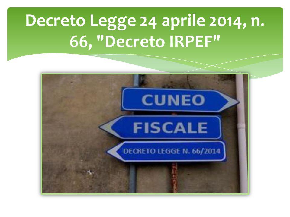 Decreto Legge 24 aprile 2014, n. 66,