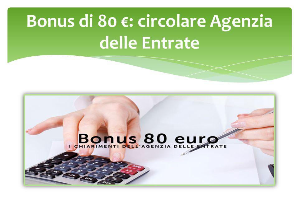 Bonus di 80 €: circolare Agenzia delle Entrate