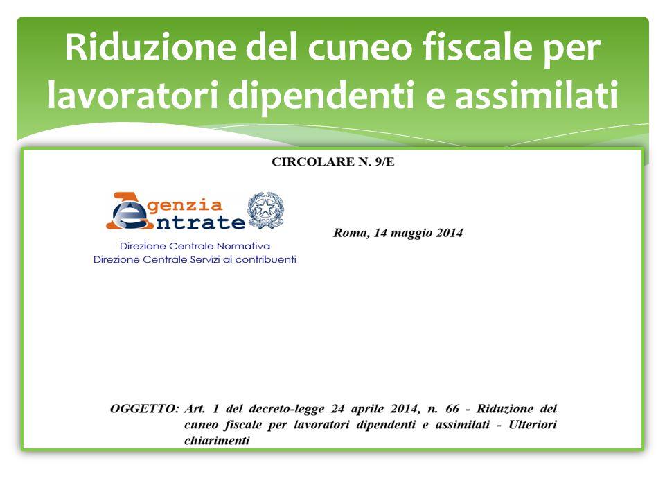 Riduzione del cuneo fiscale per lavoratori dipendenti e assimilati