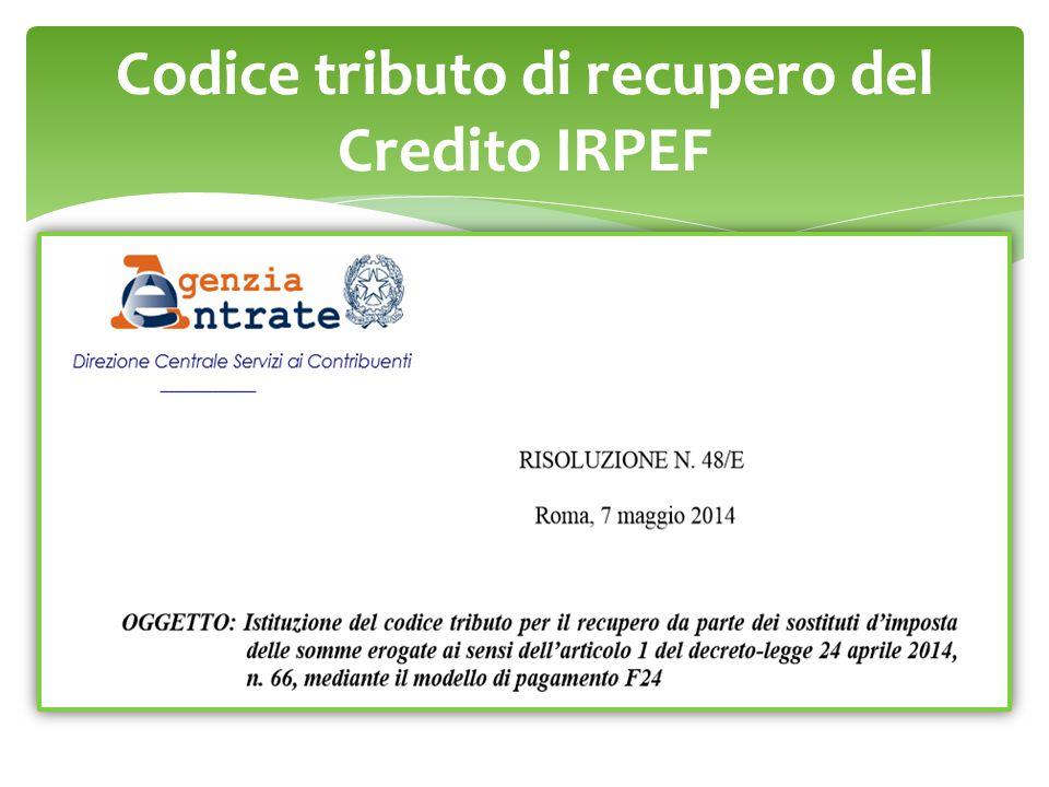 Codice tributo di recupero del Credito IRPEF