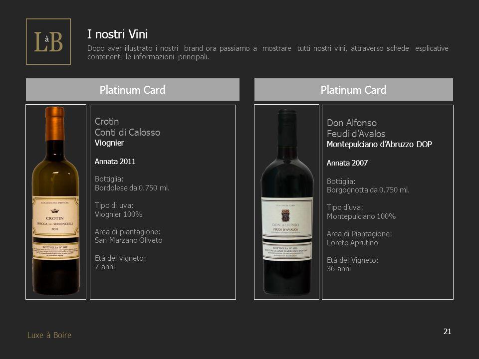21 Luxe à Boire I nostri Vini Dopo aver illustrato i nostri brand ora passiamo a mostrare tutti nostri vini, attraverso schede esplicative contenenti