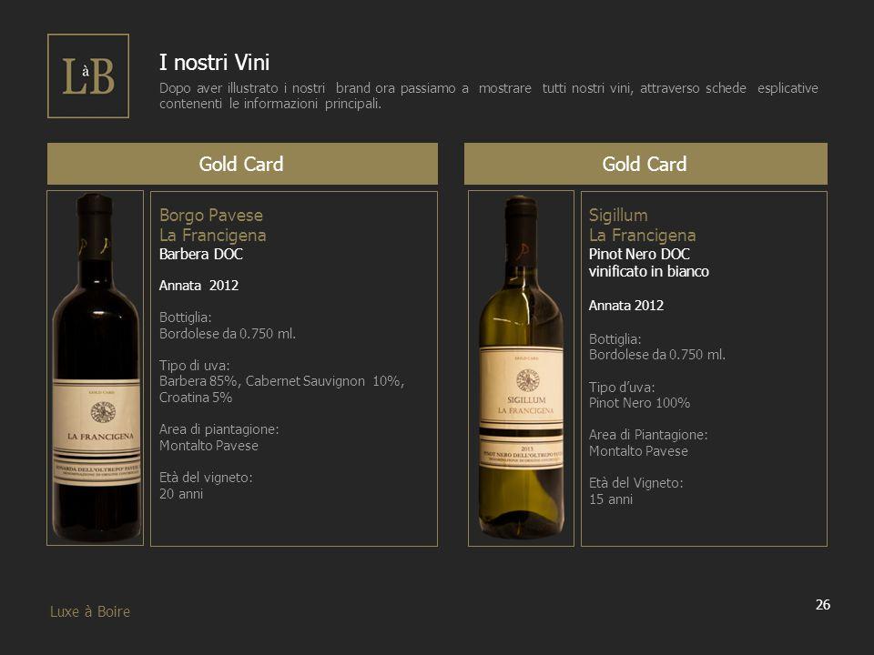 26 Luxe à Boire I nostri Vini Dopo aver illustrato i nostri brand ora passiamo a mostrare tutti nostri vini, attraverso schede esplicative contenenti