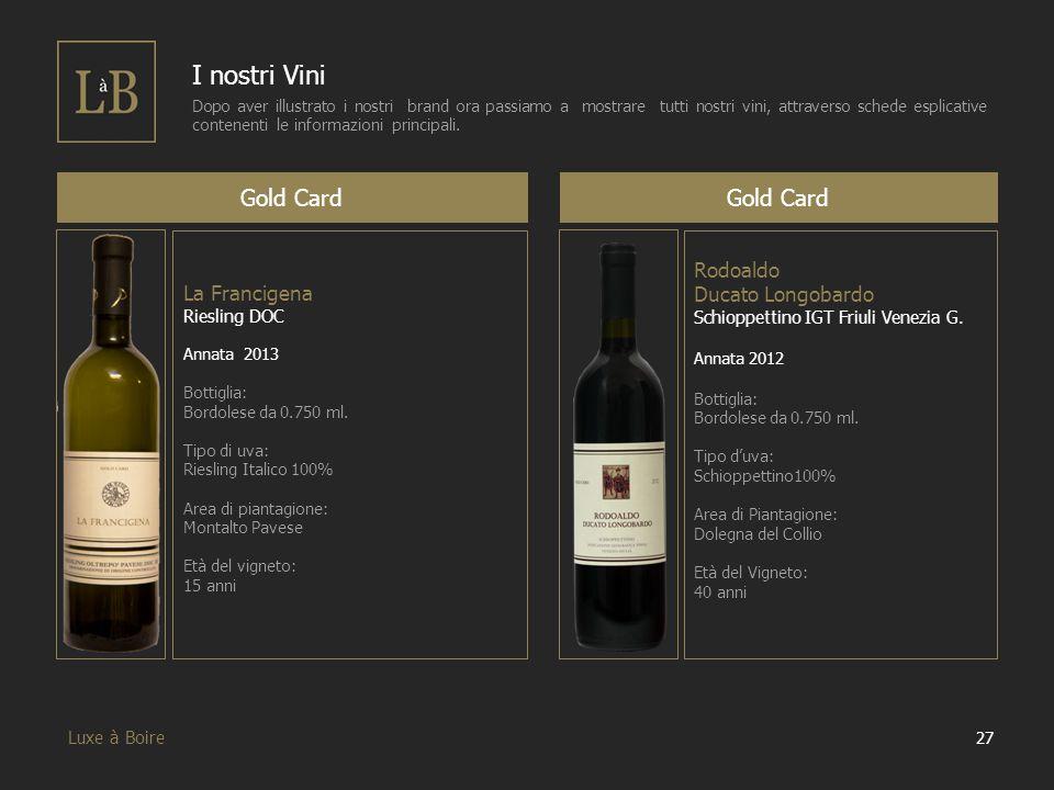 27 Luxe à Boire I nostri Vini Dopo aver illustrato i nostri brand ora passiamo a mostrare tutti nostri vini, attraverso schede esplicative contenenti