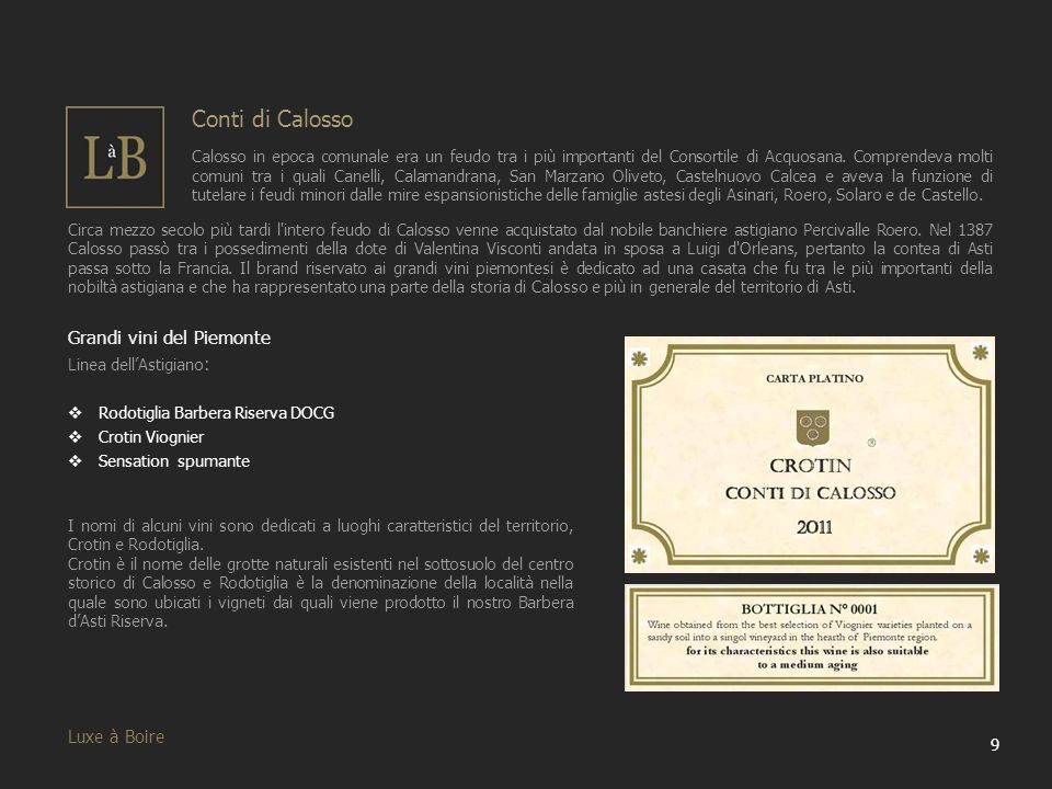 20 Luxe à Boire I nostri Vini Dopo aver illustrato i nostri brand ora passiamo a mostrare tutti nostri vini, attraverso schede esplicative contenenti le informazioni principali.
