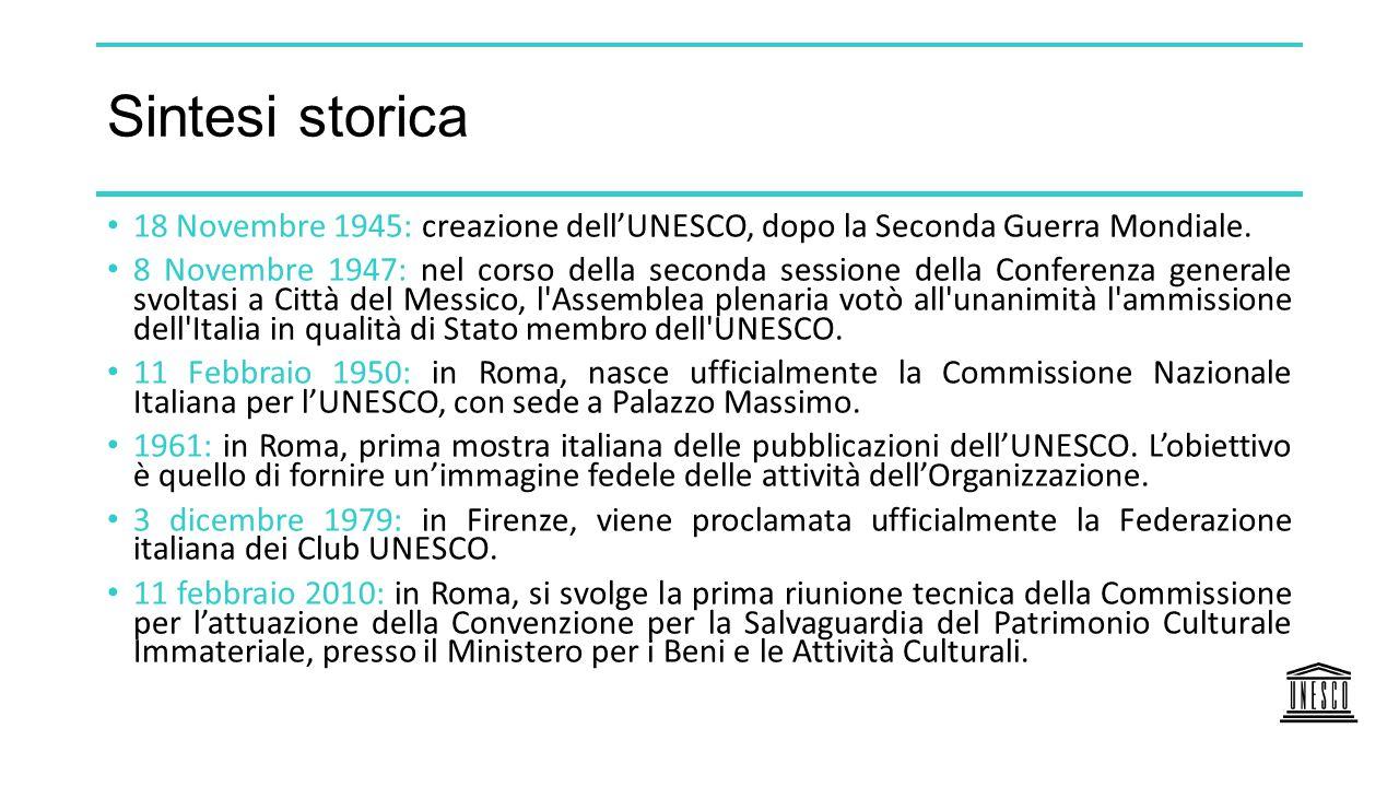 Sintesi storica 18 Novembre 1945: creazione dell'UNESCO, dopo la Seconda Guerra Mondiale. 8 Novembre 1947: nel corso della seconda sessione della Conf