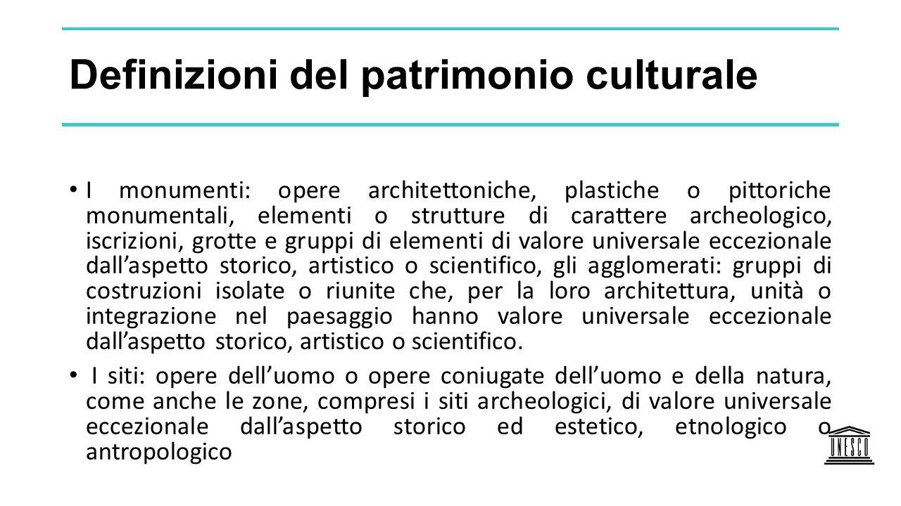 Definizioni del patrimonio culturale I monumenti: opere architettoniche, plastiche o pittoriche monumentali, elementi o strutture di carattere archeol