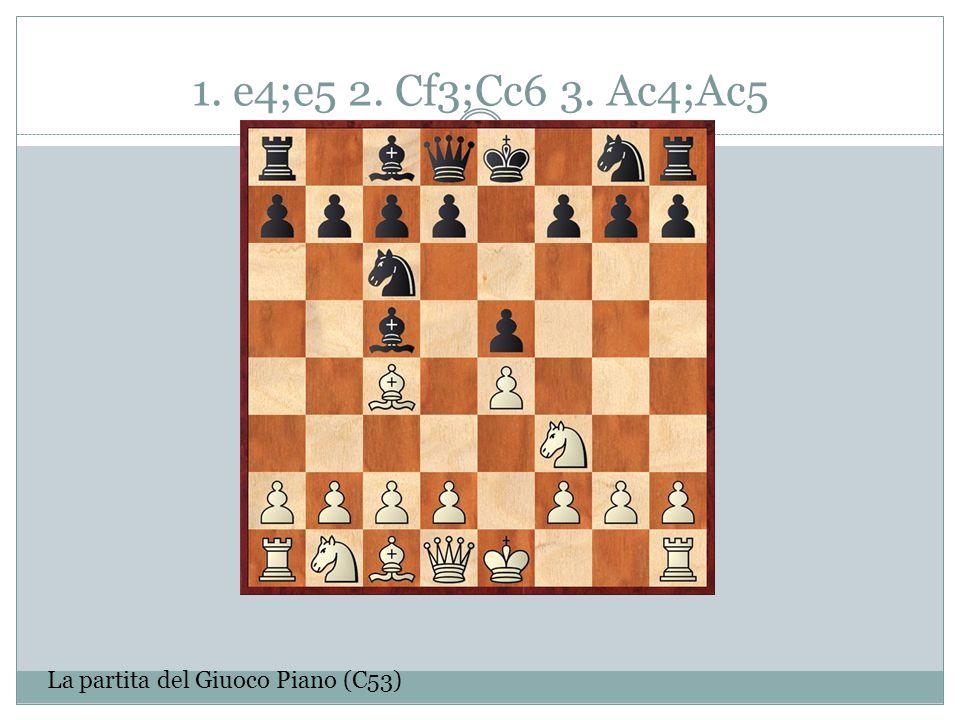 1. e4;e5 2. Cf3;Cc6 3. Ac4;Ac5 La partita del Giuoco Piano (C53)