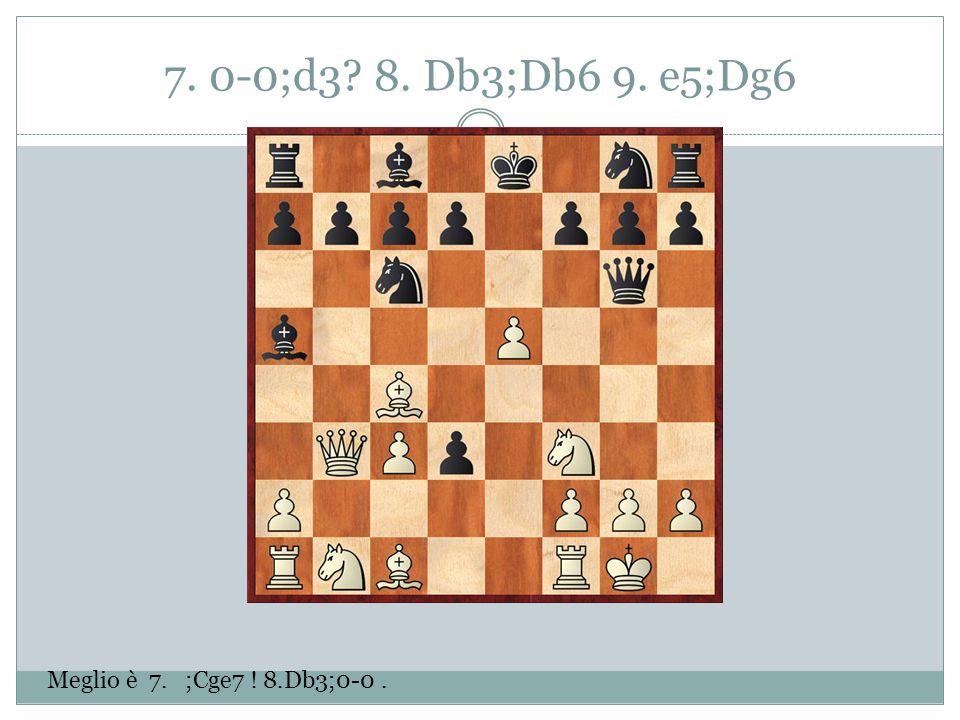 7. 0-0;d3 8. Db3;Db6 9. e5;Dg6 Meglio è 7. ;Cge7 ! 8.Db3;0-0.