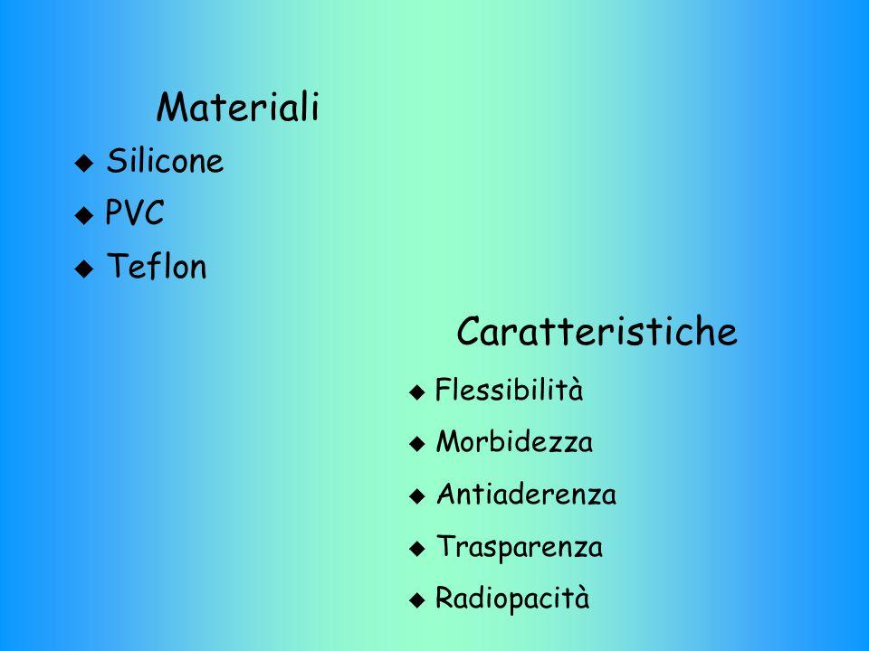 Materiali  Silicone  PVC  Teflon Caratteristiche  Flessibilità  Morbidezza  Antiaderenza  Trasparenza  Radiopacità