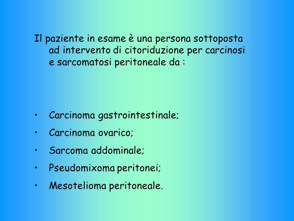 Il paziente in esame è una persona sottoposta ad intervento di citoriduzione per carcinosi e sarcomatosi peritoneale da : Carcinoma gastrointestinale; Carcinoma ovarico; Sarcoma addominale; Pseudomixoma peritonei; Mesotelioma peritoneale.