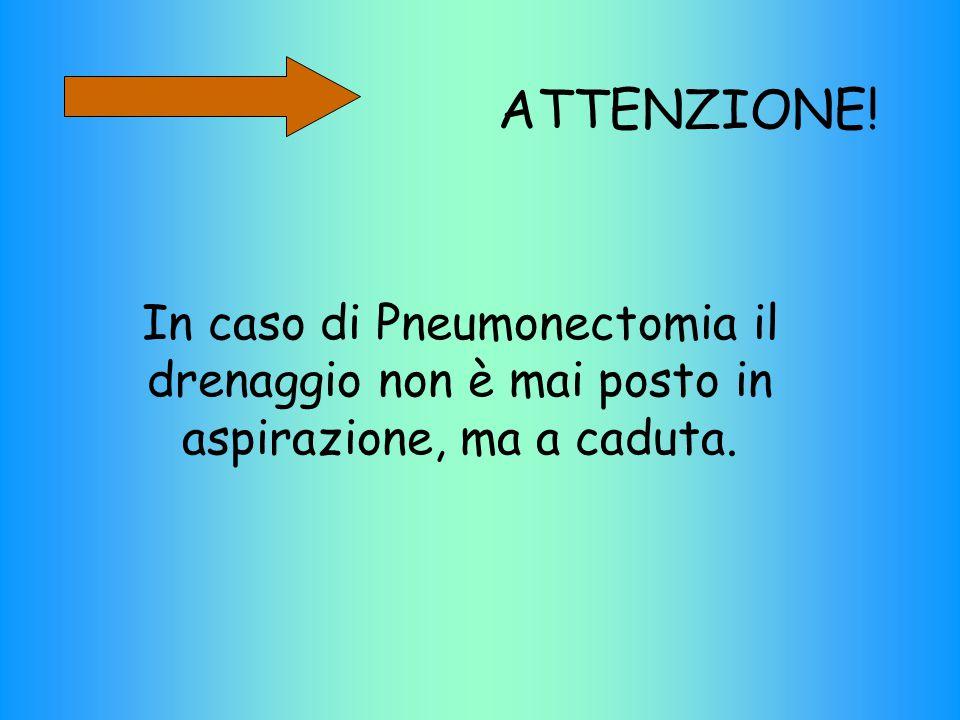 ATTENZIONE! In caso di Pneumonectomia il drenaggio non è mai posto in aspirazione, ma a caduta.