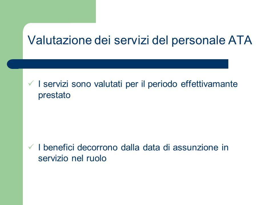 Valutazione dei servizi del personale ATA I servizi sono valutati per il periodo effettivamante prestato I benefici decorrono dalla data di assunzione