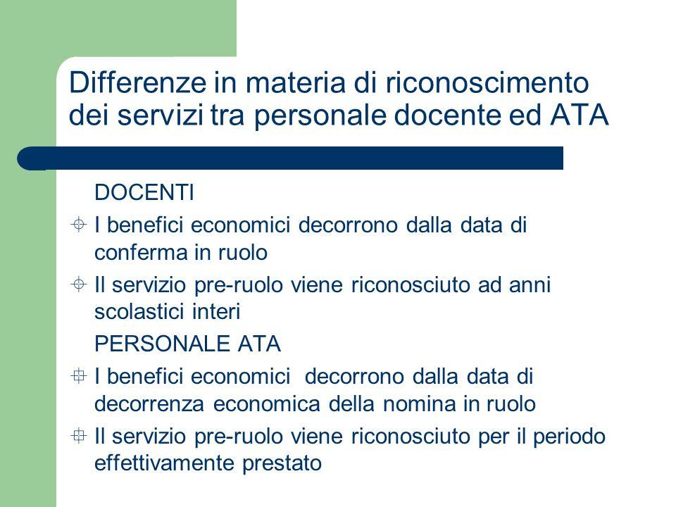 Differenze in materia di riconoscimento dei servizi tra personale docente ed ATA  DOCENTI  I benefici economici decorrono dalla data di conferma in