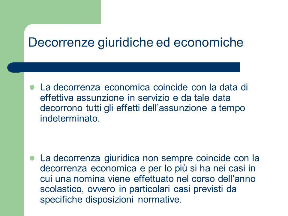Decorrenze giuridiche ed economiche La decorrenza economica coincide con la data di effettiva assunzione in servizio e da tale data decorrono tutti gl