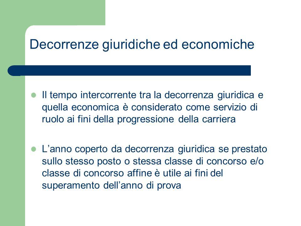Decorrenze giuridiche ed economiche Il tempo intercorrente tra la decorrenza giuridica e quella economica è considerato come servizio di ruolo ai fini
