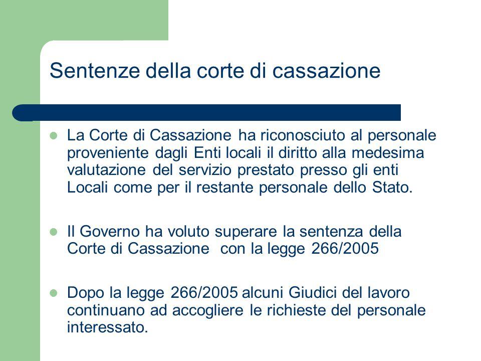 Sentenze della corte di cassazione La Corte di Cassazione ha riconosciuto al personale proveniente dagli Enti locali il diritto alla medesima valutazi
