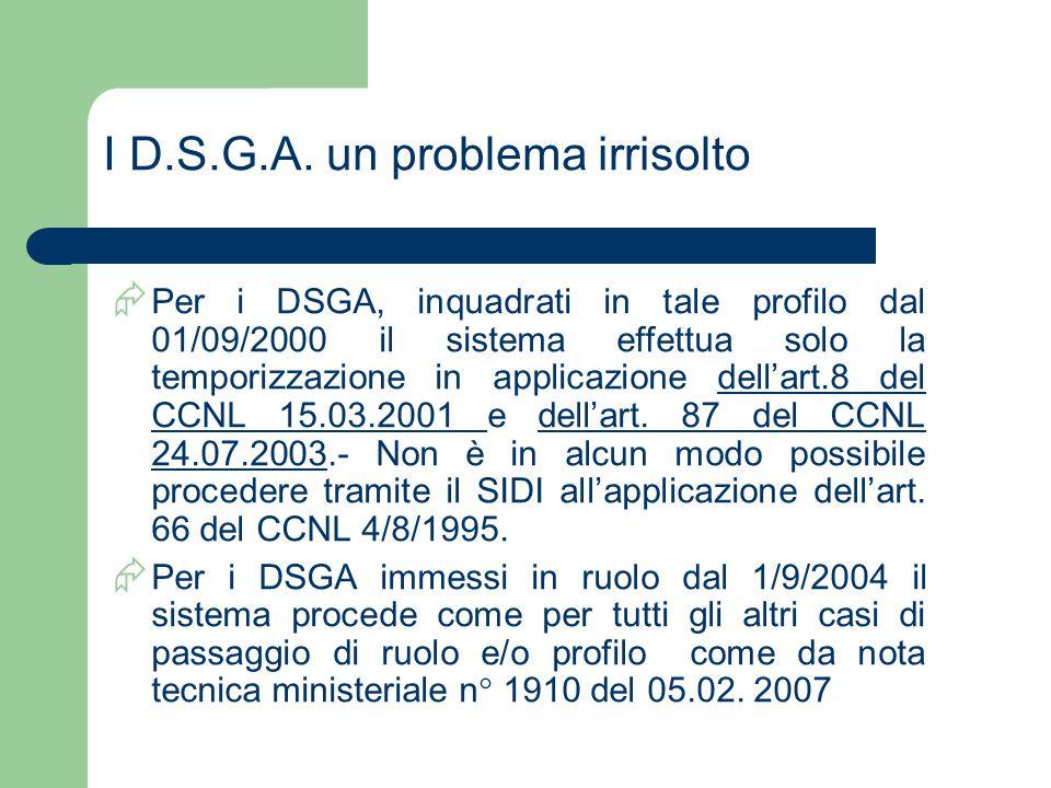 I D.S.G.A. un problema irrisolto  Per i DSGA, inquadrati in tale profilo dal 01/09/2000 il sistema effettua solo la temporizzazione in applicazione d