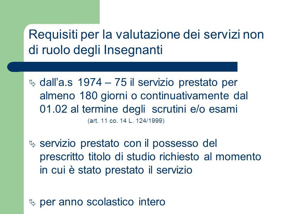 Requisiti per la valutazione dei servizi non di ruolo degli Insegnanti  dall'a.s 1974 – 75 il servizio prestato per almeno 180 giorni o continuativam