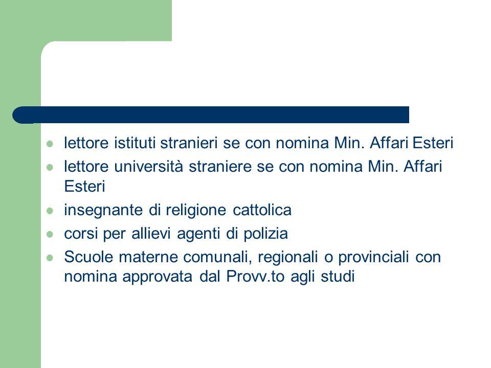 lettore istituti stranieri se con nomina Min. Affari Esteri lettore università straniere se con nomina Min. Affari Esteri insegnante di religione catt