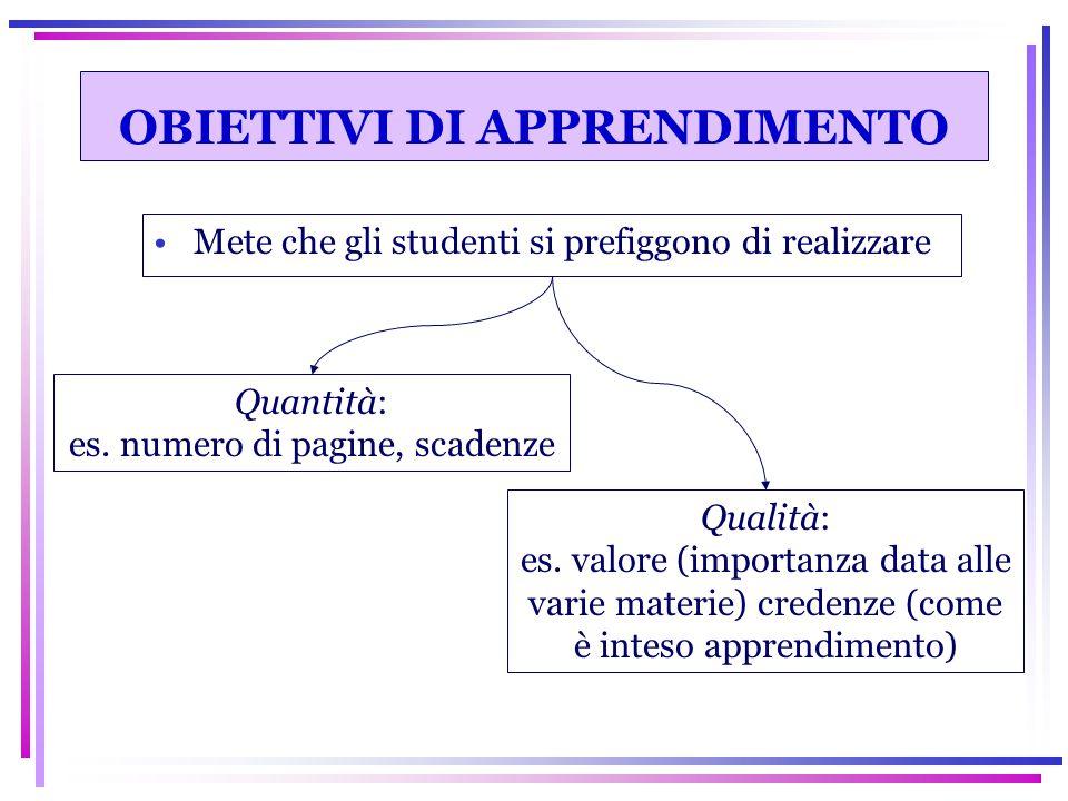 OBIETTIVI DI APPRENDIMENTO Mete che gli studenti si prefiggono di realizzare Quantità: es. numero di pagine, scadenze Qualità: es. valore (importanza