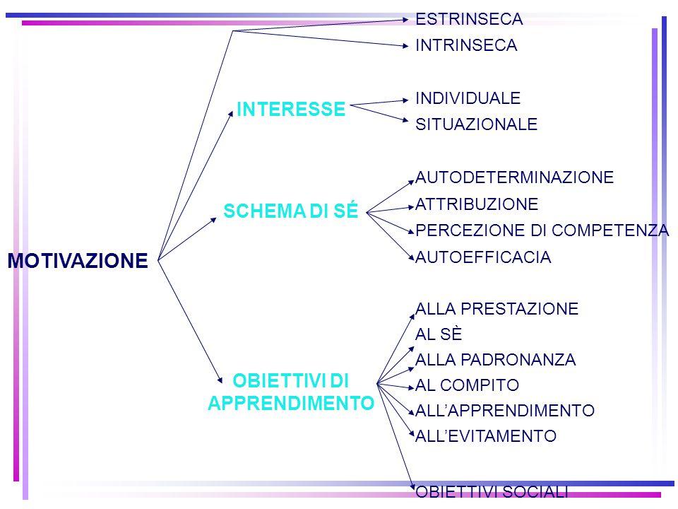 MOTIVAZIONE INTERESSE SCHEMA DI SÉ OBIETTIVI DI APPRENDIMENTO ESTRINSECA INTRINSECA INDIVIDUALE SITUAZIONALE AUTODETERMINAZIONE ATTRIBUZIONE PERCEZION