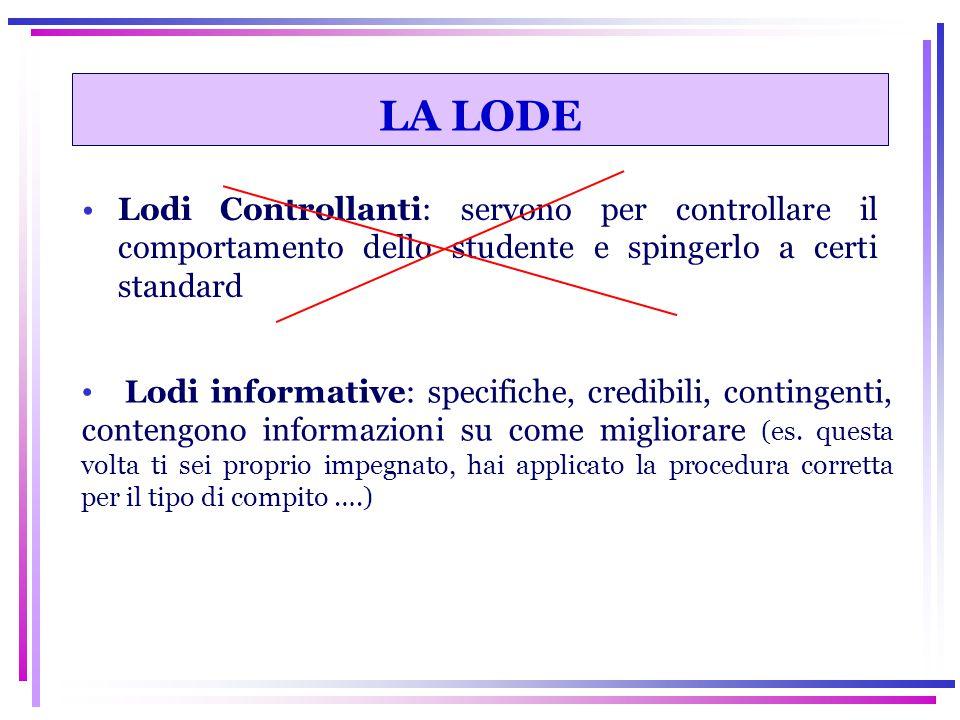 Lodi Controllanti: servono per controllare il comportamento dello studente e spingerlo a certi standard LA LODE Lodi informative: specifiche, credibil