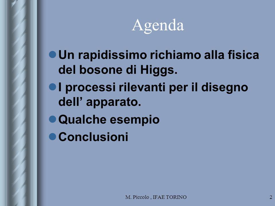 M. Piccolo, IFAE TORINO2 Agenda Un rapidissimo richiamo alla fisica del bosone di Higgs.