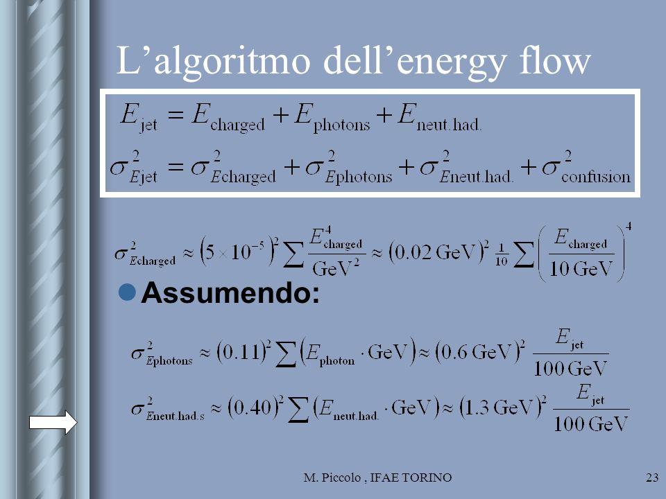 M. Piccolo, IFAE TORINO23 L'algoritmo dell'energy flow Assumendo: