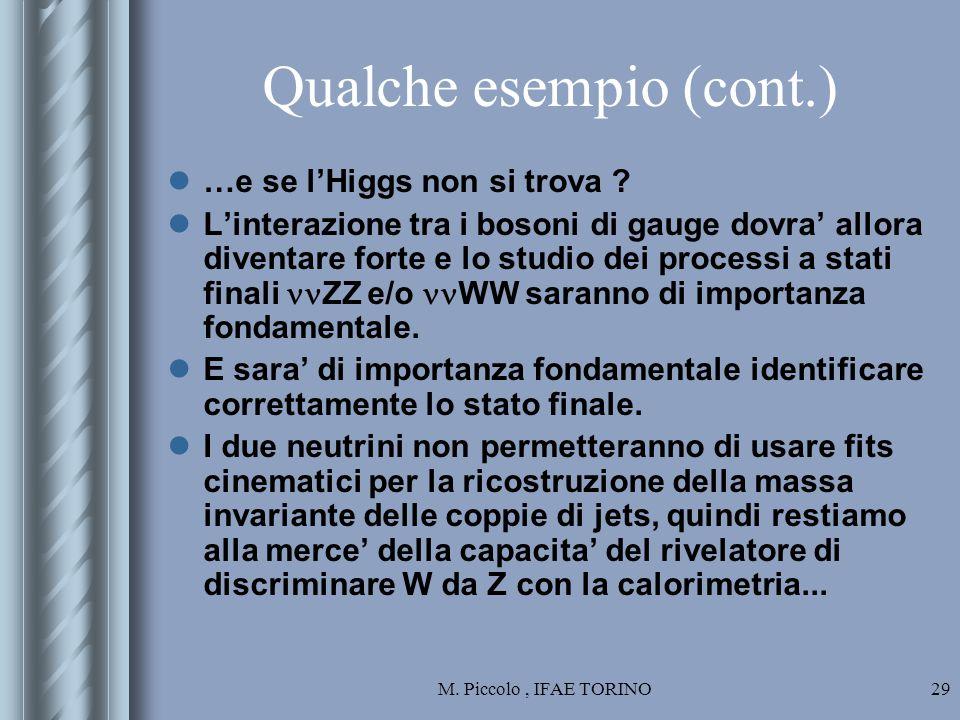 M. Piccolo, IFAE TORINO29 Qualche esempio (cont.) …e se l'Higgs non si trova .