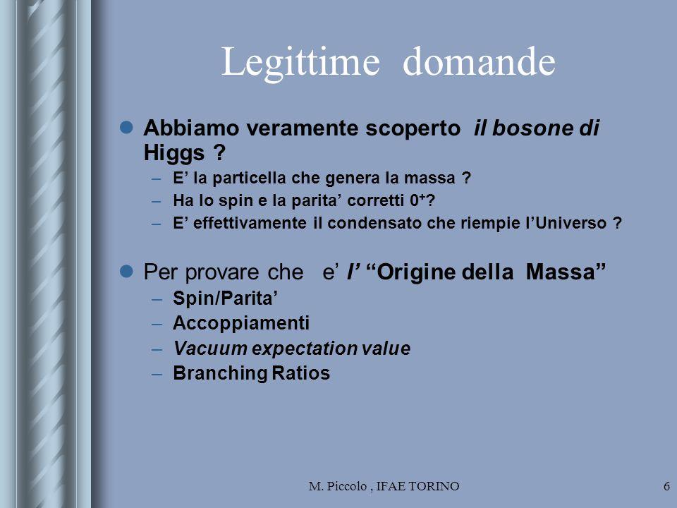 M. Piccolo, IFAE TORINO6 Legittime domande Abbiamo veramente scoperto il bosone di Higgs .