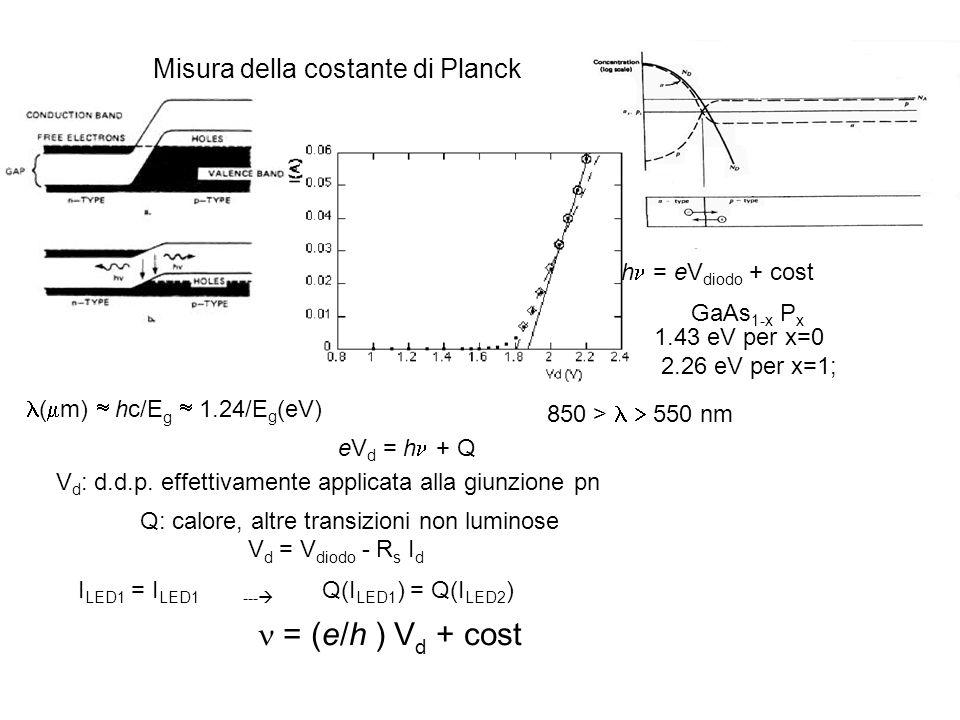 e/h = 2.418×1014 s-1V-1.h /e = (3.99 ± 0.22) × 10 -15 V s h = (6.39 ± 0.35) × 10 -34 J s.