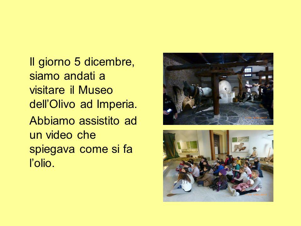 Il giorno 5 dicembre, siamo andati a visitare il Museo dell'Olivo ad Imperia.