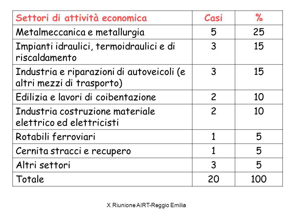 X Riunione AIRT-Reggio Emilia Settori di attività economicaCasi% Metalmeccanica e metallurgia525 Impianti idraulici, termoidraulici e di riscaldamento