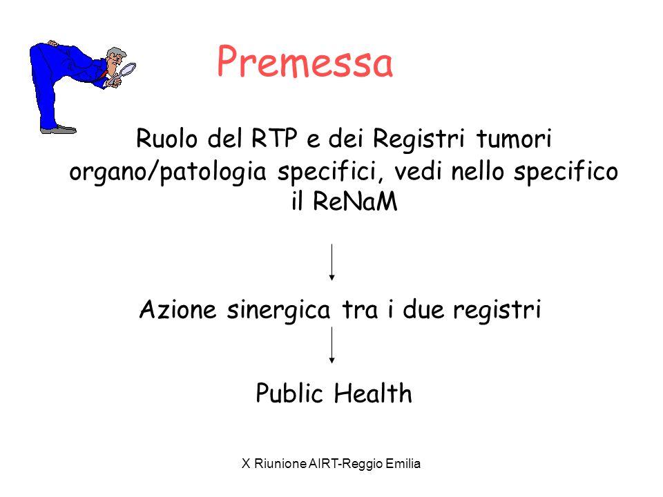 X Riunione AIRT-Reggio Emilia Premessa Ruolo del RTP e dei Registri tumori organo/patologia specifici, vedi nello specifico il ReNaM Azione sinergica