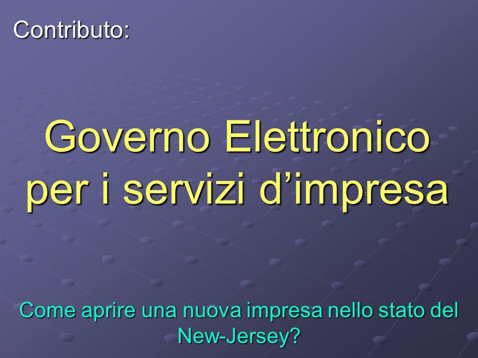 18 Governo Elettronico per i servizi d'impresa Come aprire una nuova impresa nello stato del New-Jersey? Contributo: