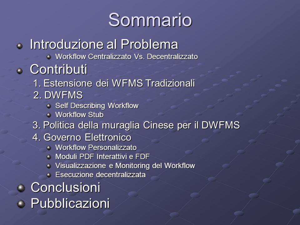 Sommario Introduzione al Problema Introduzione al Problema Workflow Centralizzato Vs. Decentralizzato Workflow Centralizzato Vs. Decentralizzato Contr
