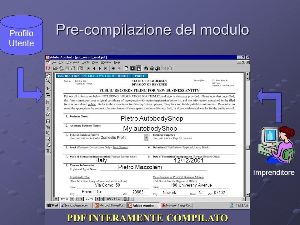 23 Pre-compilazione del modulo Pre-compilazione del modulo PDF INTERATTIVO PDF PRE-COMPILATO PDF INTERAMENTE COMPILATO Profilo Utente Pietro AutobodyS