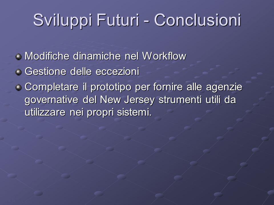 25 Sviluppi Futuri - Conclusioni Modifiche dinamiche nel Workflow Gestione delle eccezioni Completare il prototipo per fornire alle agenzie governativ