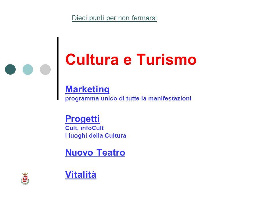 Cultura e Turismo Marketing programma unico di tutte la manifestazioni Progetti Cult, infoCult I luoghi della Cultura Nuovo Teatro Vitalità Dieci punti per non fermarsi